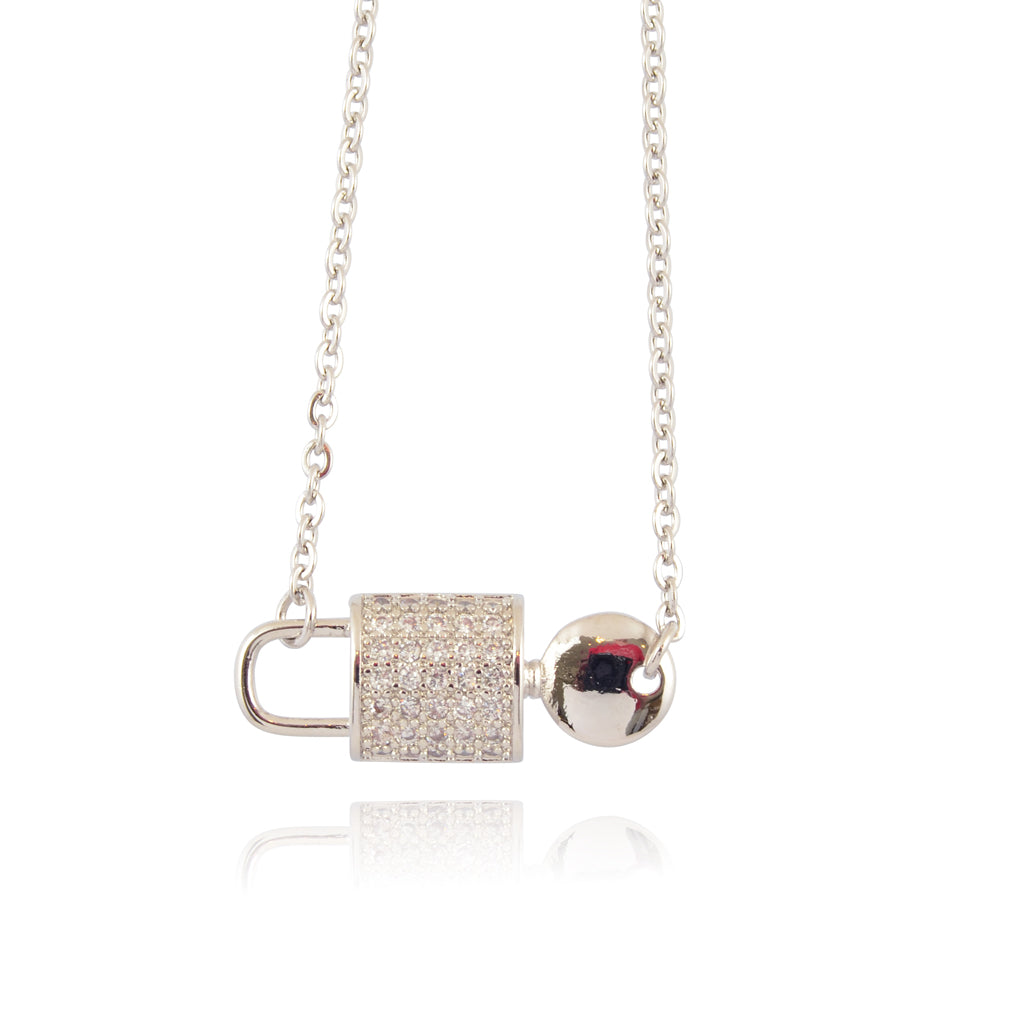 In Your Dreams Crystal Lock and Key Necklace, Dainty Silver Plated Round Pendant