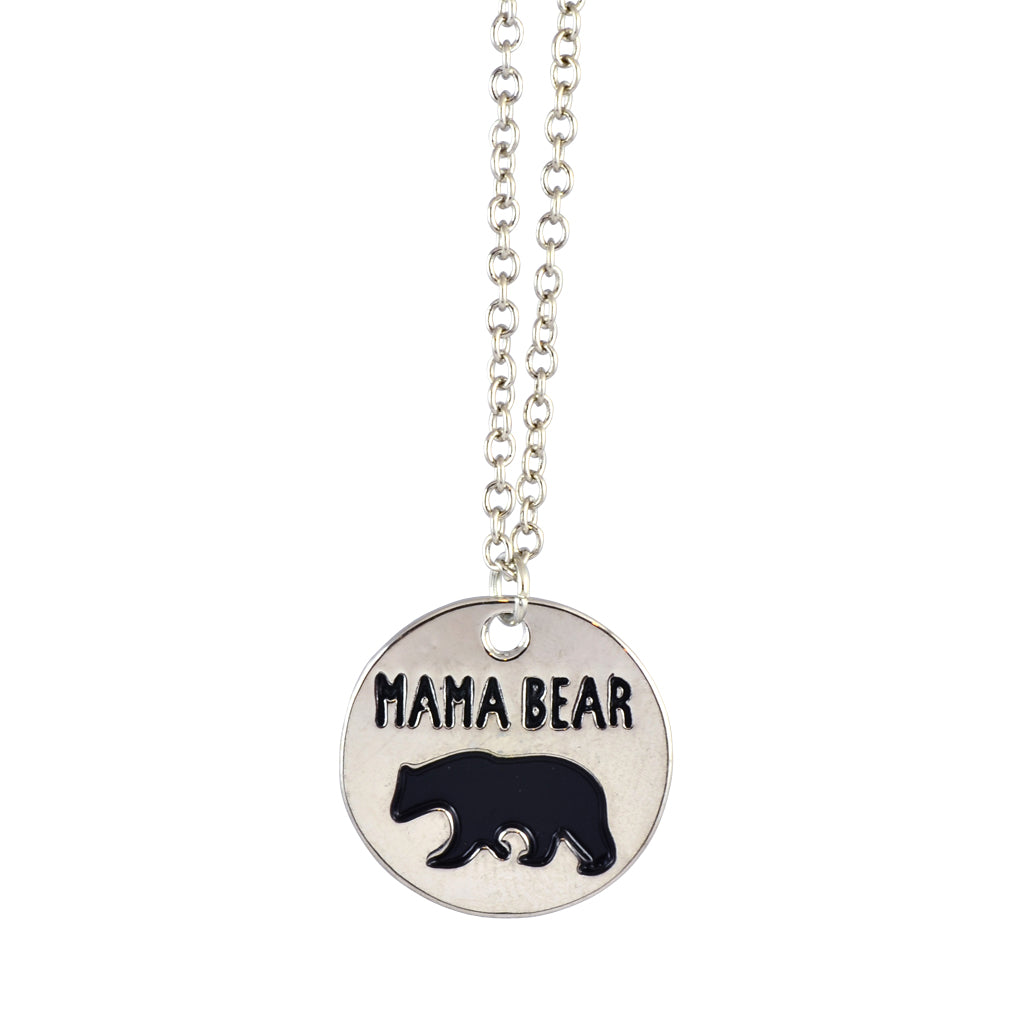 In Your Dreams Mama Bear Round Necklace, Dainty Silver Plated Pendant