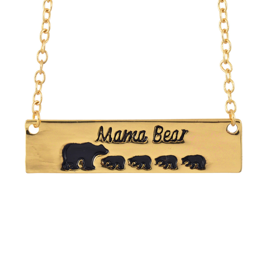 In Your Dreams Mama Bear 3 Cub Necklace, Dainty Gold Plated Pendant