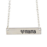 In Your Dreams Mama Heart Bar Necklace, Dainty Silver Plated Pendant