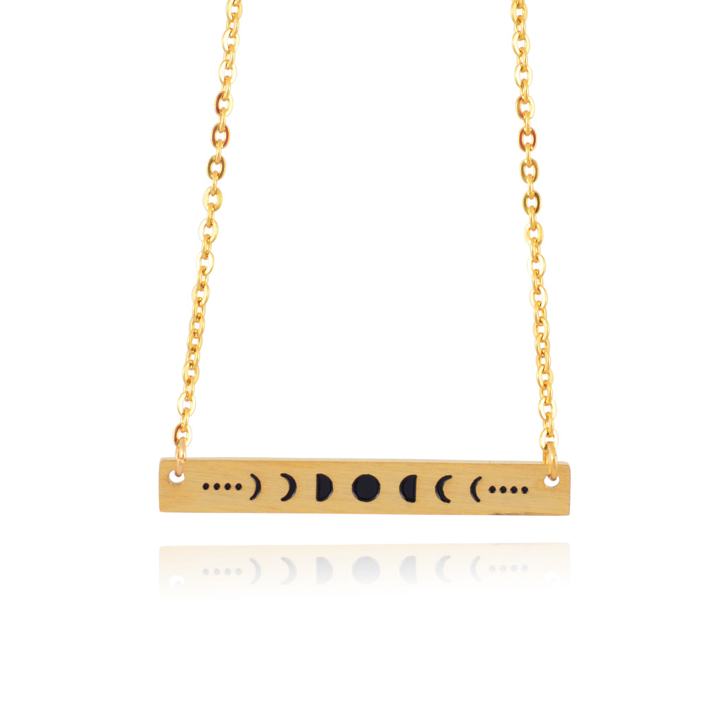 In Your Dreams Moon Phases Necklace, Dainty Gold Plated Round Pendant