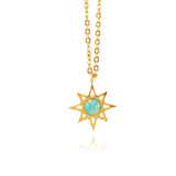 In Your Dreams Shiny Star Necklace, Dainty Gold Plated Round Pendant