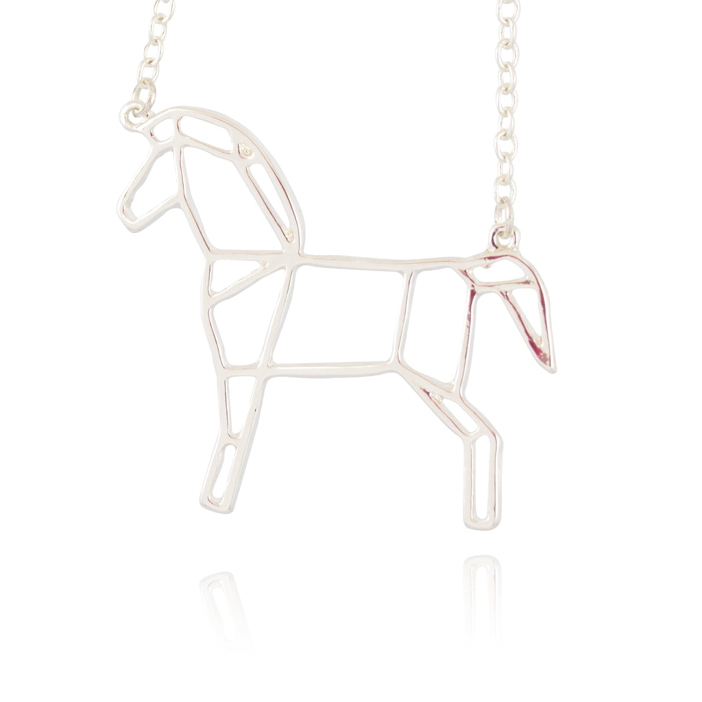 In Your Dreams Origami Horse Necklace, Dainty Silver Plated Round Pendant