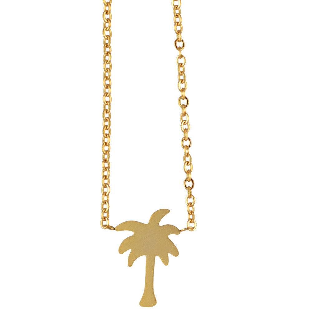 d63b99e6f02 IYDC-N-PALMTREE In Your Dreams Palm Tree Necklace, Dainty Round Pendant  Palmetto – En Reverie