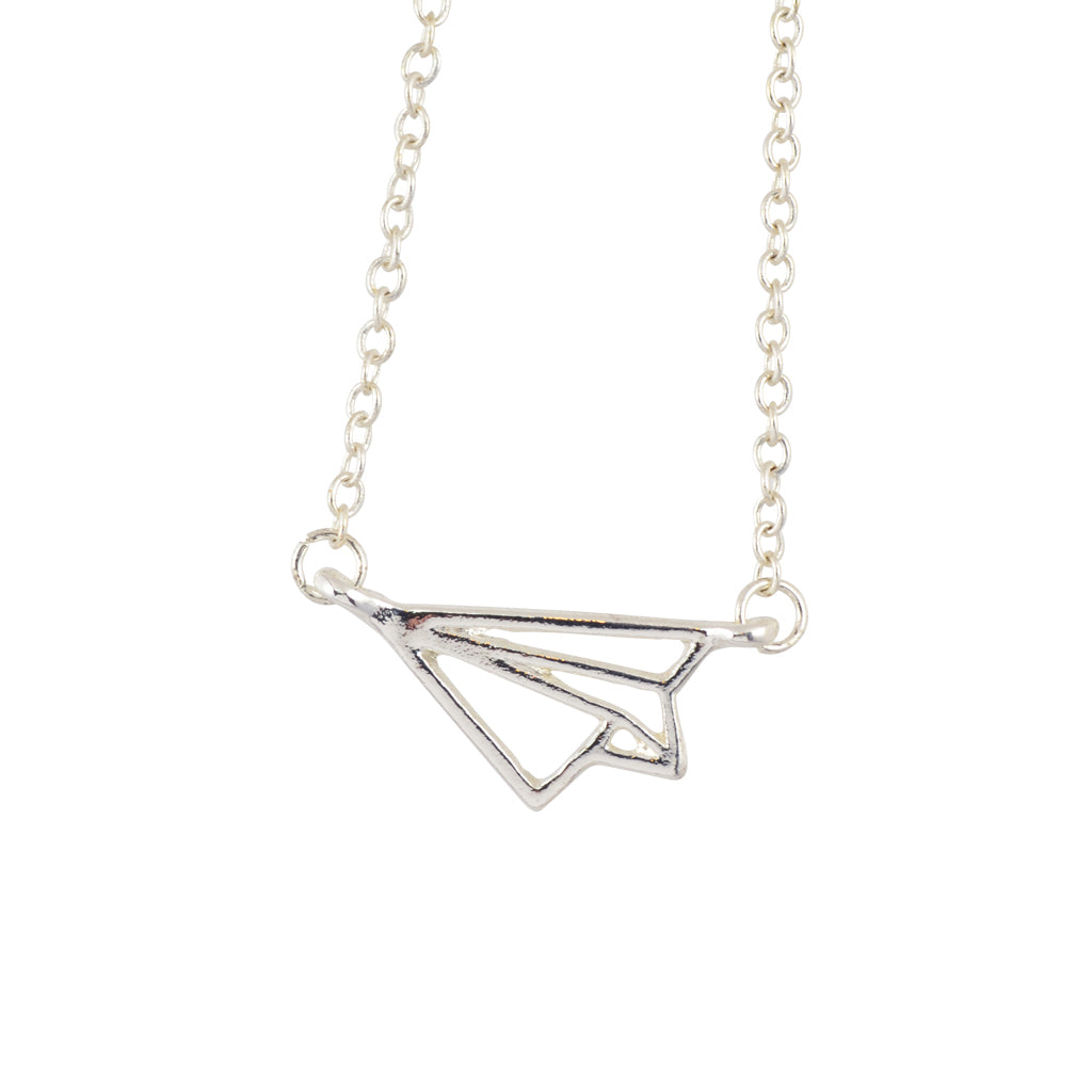 In Your Dreams Paper Airplane Necklace, Dainty Silver Plated Pendant