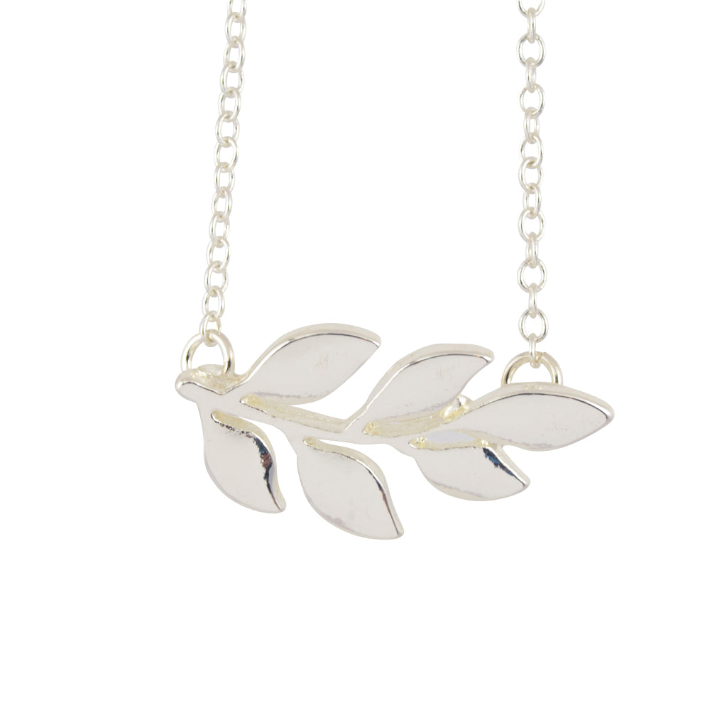 In Your Dreams Plant Branch Necklace, Dainty Silver Plated Pendant