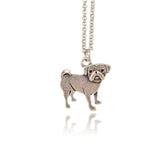 In Your Dreams Pug Necklace, Dainty Silver Plated Dog Pet Pendant