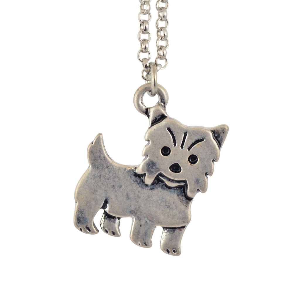 In Your Dreams Yorkshire Terrier Dog Necklace, Dainty Silver Plated Oet Pendant