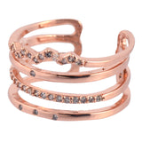 In Your Dreams 4 Lines Pave Ring, Dainty Rose Gold Plated Polished Adjustable Band
