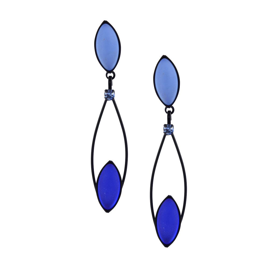 Kristina Collection Leaf Drop Stud Earrings, Blue Czech Glass on Black Memory Wire
