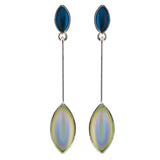 Kristina Collection Leaf Drop Stud Earrings, White Czech Glass on Black Memory Wire