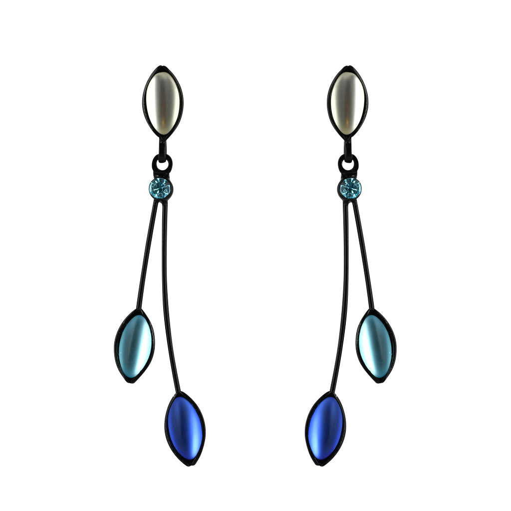 Kristina Collection 2 Branch Leaf Drop Stud Earrings, White and Blue Czech Glass on Black Memory Wire