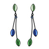 Kristina Collection 2 Branch Leaf Drop Stud Earrings, Green and Blue Czech Glass on Black Memory Wire
