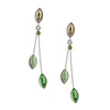 Kristina Collection 2 Branch Leaf Drop Stud Earrings, Green Czech Glass on Silvertone Memory Wire