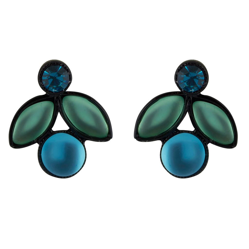 Kristina Collection 2 Branch Leaf Drop Stud Earrings, Green Czech Glass on Black Memory Wire