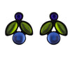 Kristina Collection 2 Branch Leaf Drop Stud Earrings, Blue Czech Glass on Black Memory Wire