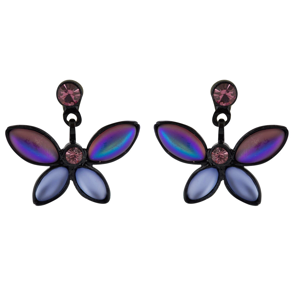Kristina Collection 2 Branch Leaf Drop Stud Earrings, Purple Czech Glass on Black Memory Wire