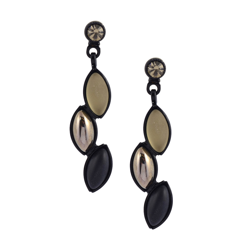 Kristina Collection Leaf Stack Stud Earrings, Black and Reflective Czech Glass on Black Memory Wire