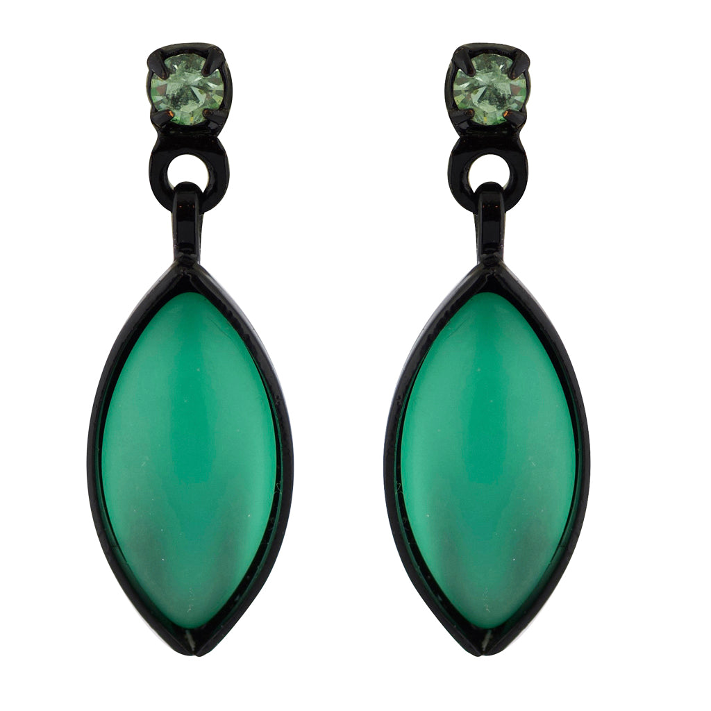 Kristina Collection Leaf Drop Stud Earrings, Green Czech Glass on Black Memory Wire