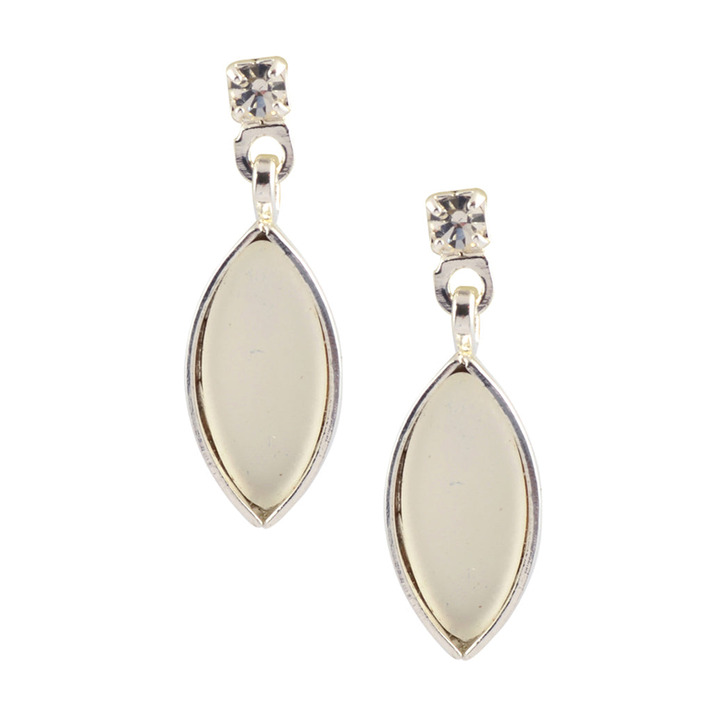 Kristina Collection Leaf Drop Stud Earrings, Clear and White Opaque Czech Glass on Silvertone Memory Wire