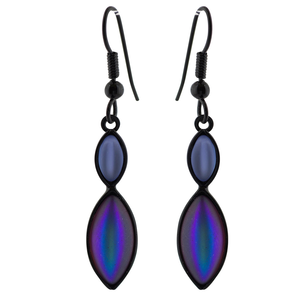 Kristina Collection Navette Dangle Earrings, Purple Czech Glass on Black Memory Wire