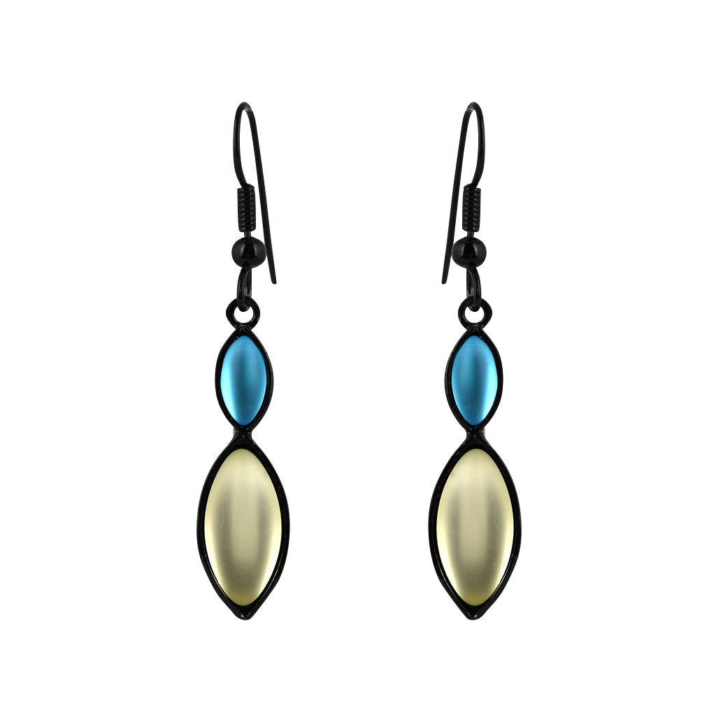 Kristina Collection Navette Dangle Earrings, Yellow Czech Glass on Black Memory Wire