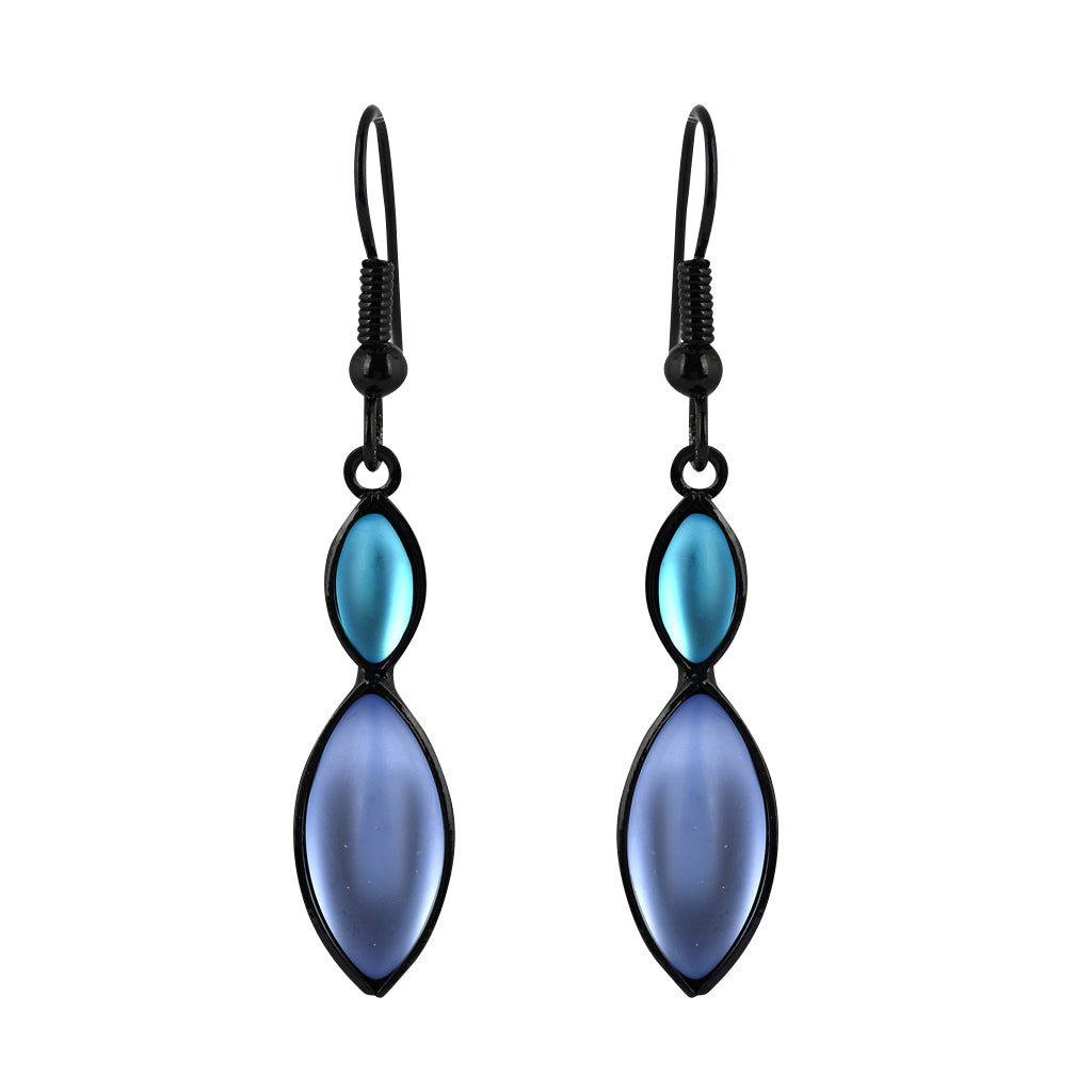 Kristina Collection Navette Dangle Earrings, Blue Czech Glass on Black Memory Wire