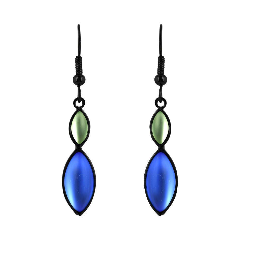Kristina Collection Navette Dangle Earrings, Green Czech Glass on Black Memory Wire