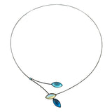 Kristina Collection Leaves and Branches Choker Necklace, White Czech Glass on Black Memory Wire