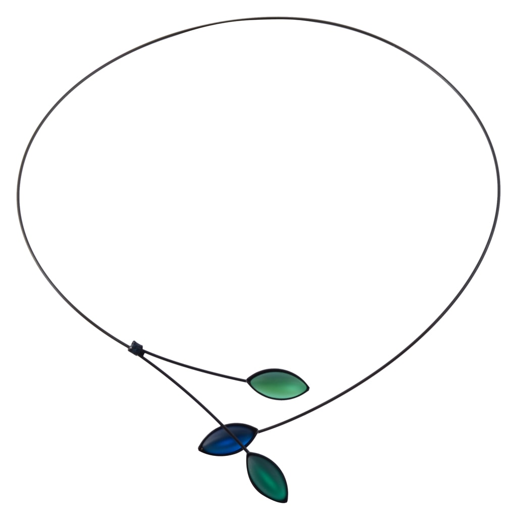 Kristina Collection Leaves and Branches Choker Necklace, Blue and Green Czech Glass on Black Memory Wire