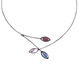 Kristina Collection Leaves and Branches Choker Necklace, Purple Czech Glass on Black Memory Wire
