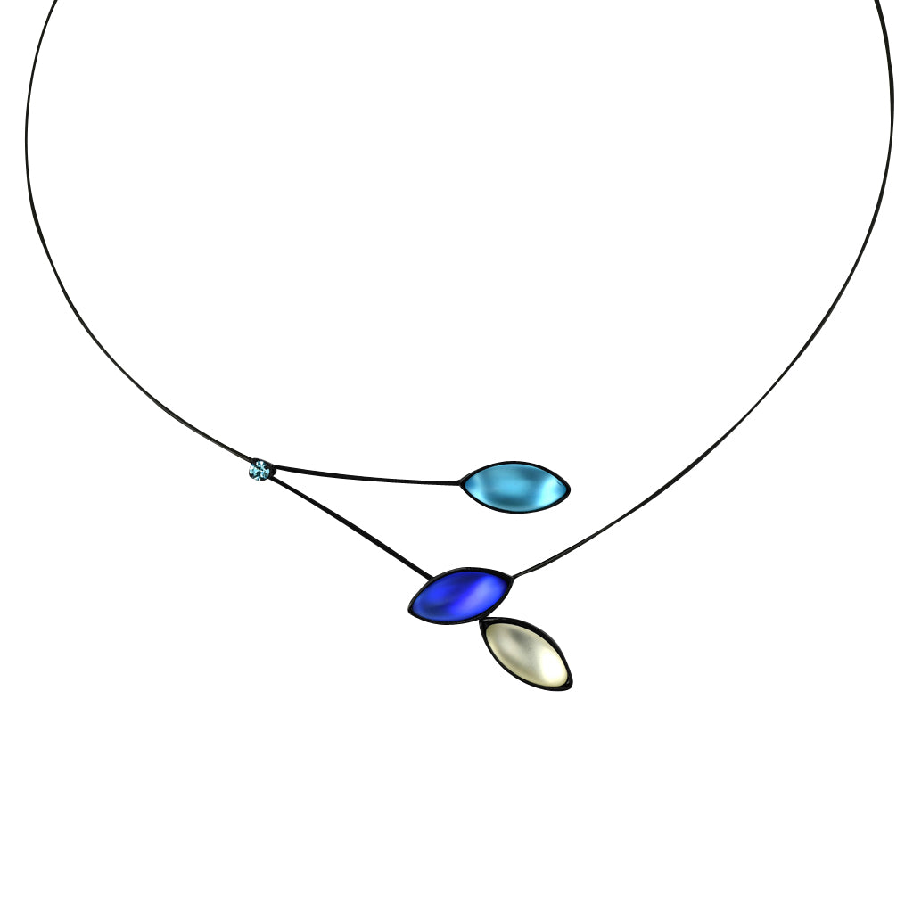 Kristina Collection Leaves and Branches Choker Necklace, Blue Czech Glass on Black Memory Wire