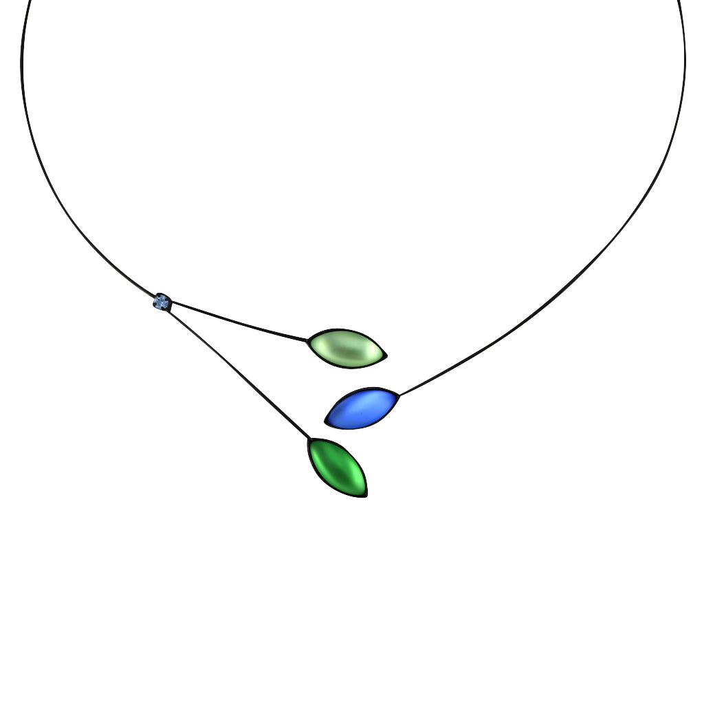 Kristina Collection Leaves and Branches Choker Necklace, Green Czech Glass on Black Memory Wire