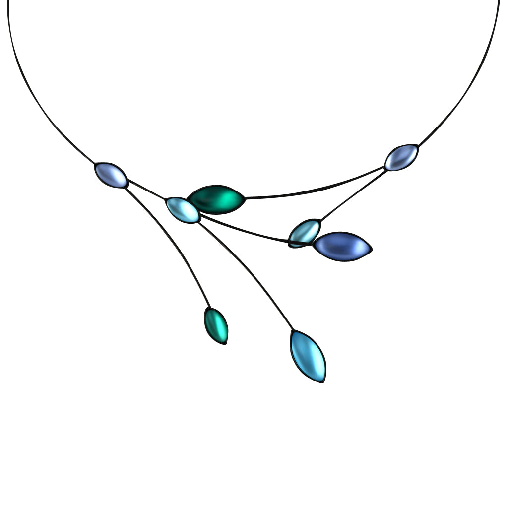 Kristina Collection Leaves and Branches Choker Necklace, Green and Blue Czech Glass on Black Memory Wire