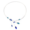 Kristina Collection Leaves and Branches Choker Necklace, Blue Czech Glass on Silvertone Memory Wire