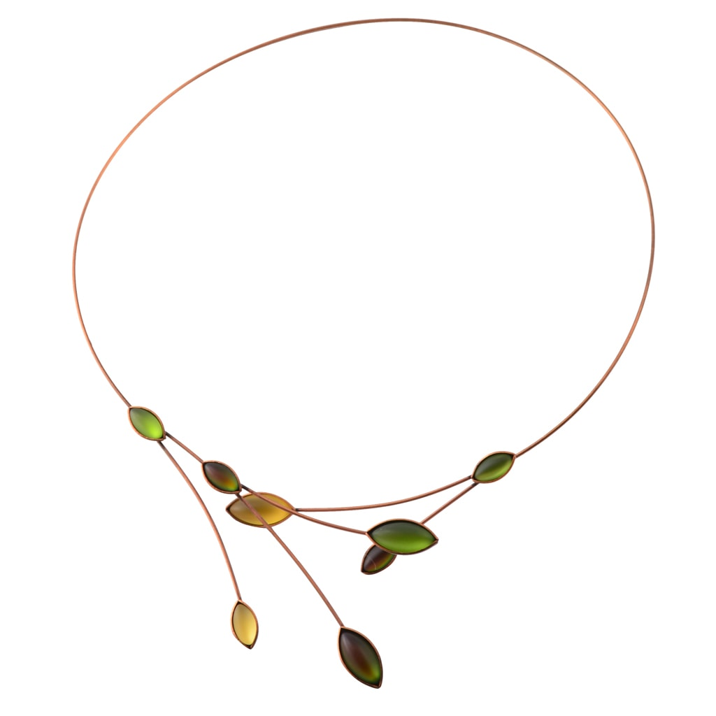 Kristina Collection Leaves and Branches Choker Necklace, Green Czech Glass on Bronze Memory Wire