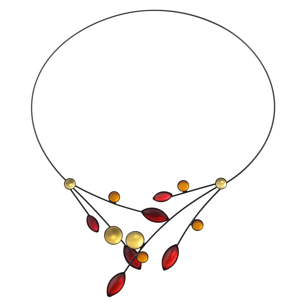 Kristina Collection Leaves and Circles Choker Necklace, Red and Yellow Czech Glass on Black Memory Wire