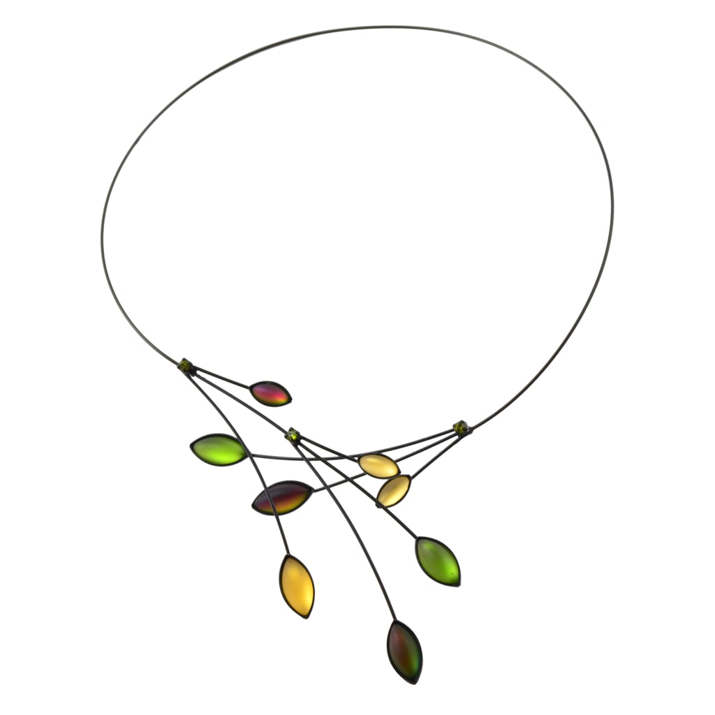 Kristina Collection Leaves and Branches Choker Necklace, Yellow Czech Glass on Black Memory Wire