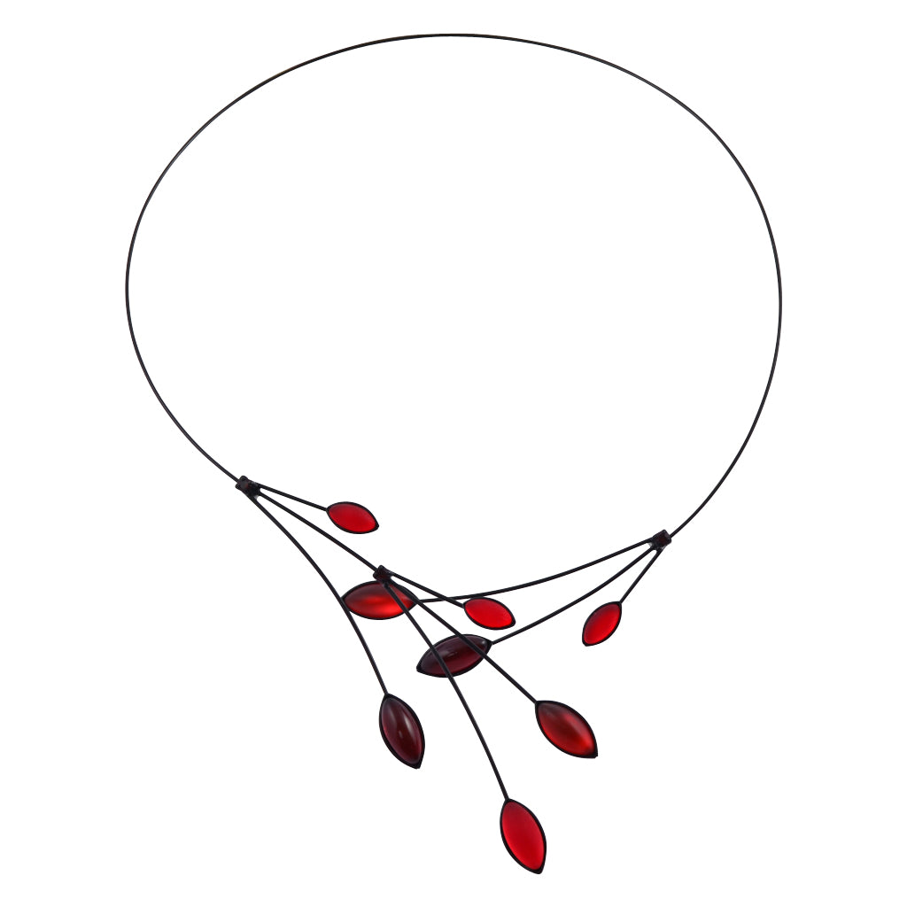 Kristina Collection Leaves and Branches Choker Necklace, Red Czech Glass on Black Memory Wire