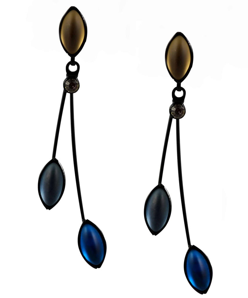 Kristina Collection 2 Branch Leaf Drop Stud Earrings, Blue and Fawn Czech Glass on Black Memory Wire