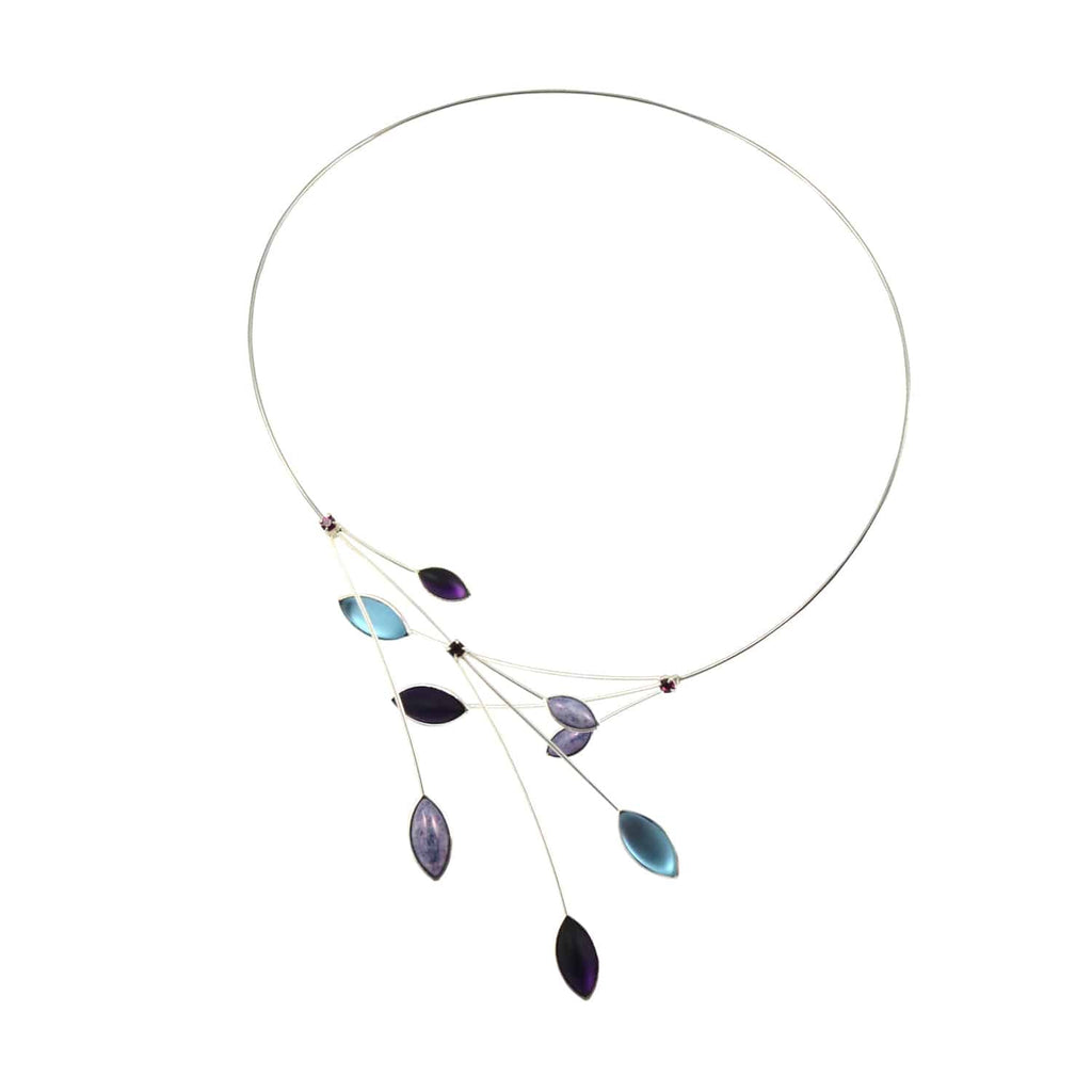 Kristina Collection Open Loop Leaves and Branches Choker Necklace, Purple Czech Glass on Silvertone Memory Wire
