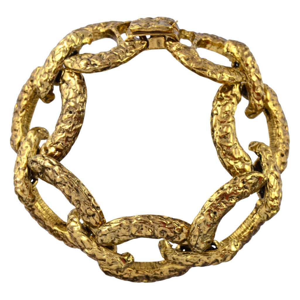 Lorren Bell Chain Link Mona Bracelet, Polished Antique Goldtone