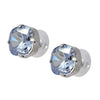 Lorren Bell Princess Stud Earrings, Silvertone with Blue Shade Crystal