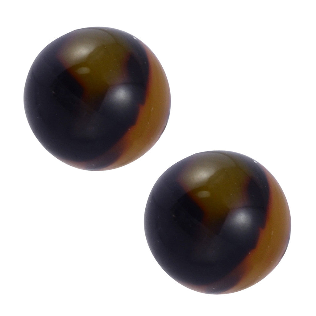 Lorren Bell Ball Stud Earrings, 10mm False Tortoise Shell, Antique Goldtone