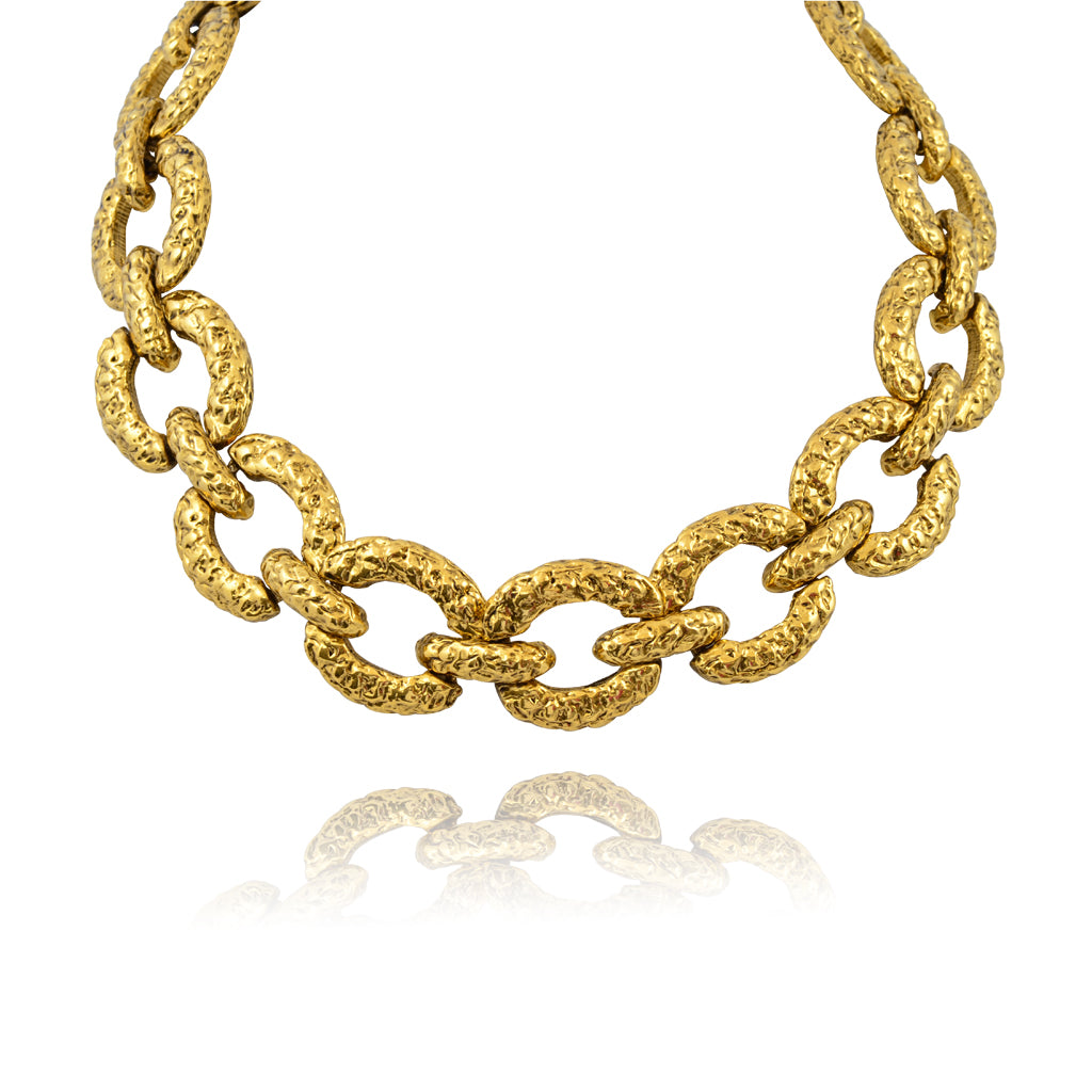 Lorren Bell Tokyo Textured Curb Chain Link Necklace, Antique Goldtone, 18""