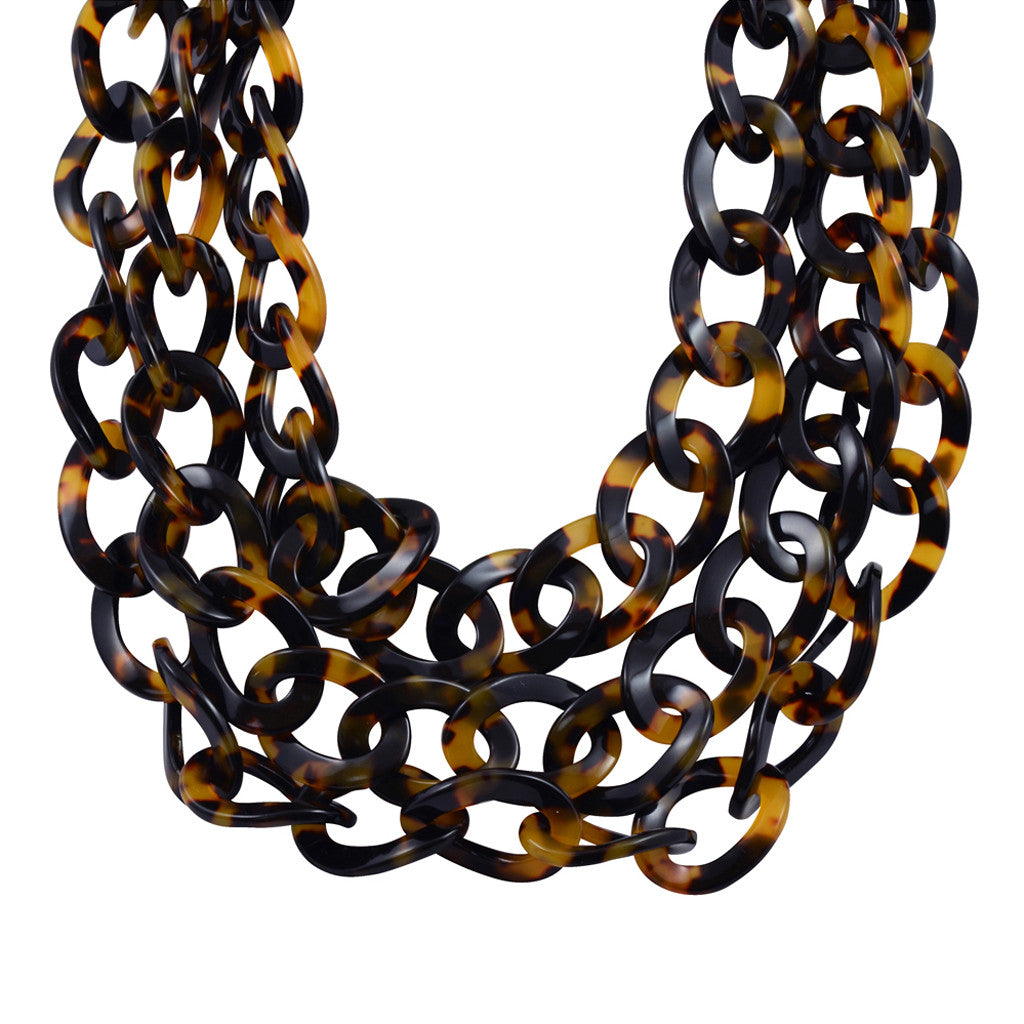 Lorren Bell Triple Curb Chain Necklace, False Tortoise Shell, Antique Goldtone, 24