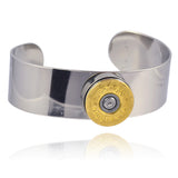 Shotgun Shell Flat Bangle Cuff, 20 Gauge Bullet Casing Bracelet in Mixed Metal Finish