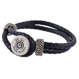 Shotgun Shell Black Leather Cuff, 20 Gauge Bullet Casing Bracelet in Silvertone