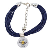 Shotgun Shell Blue Leather Cuff, 20 Gauge Bullet Casing Bracelet in Silvertone