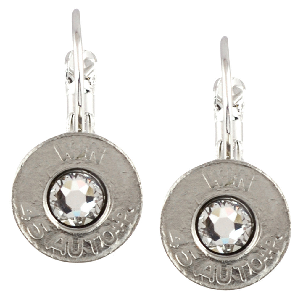 45 Caliber Bullet Leverback Earrings, Silvertone Casing with Clear Crystal